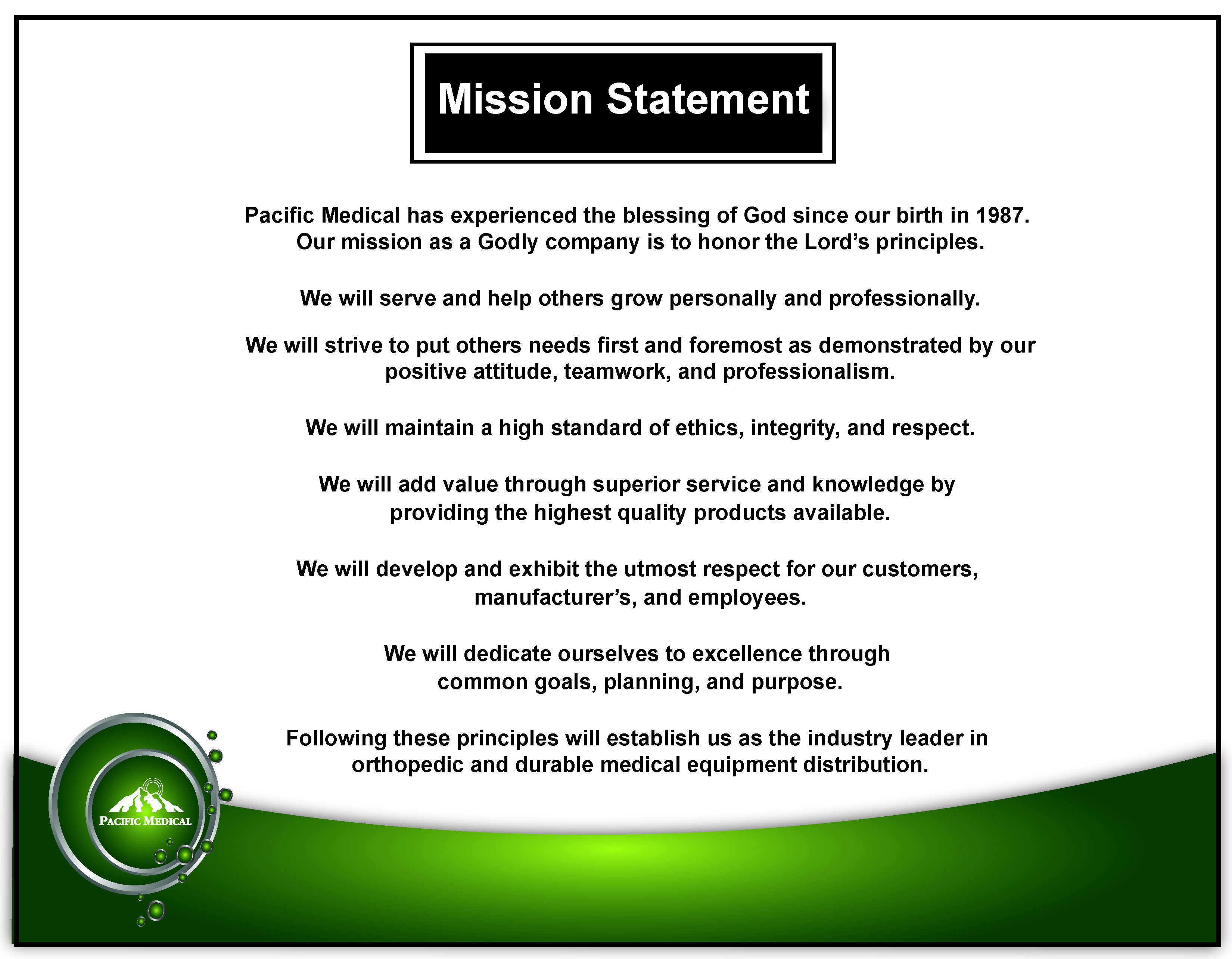 April 2019 Mission Statement